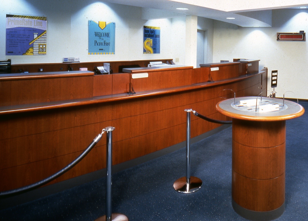 Pacific first bank teller line check write custom for Furniture bank seattle